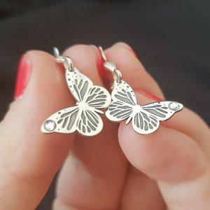 Cercei fluturi cu tortita - Argint 925, cristal Swarovski