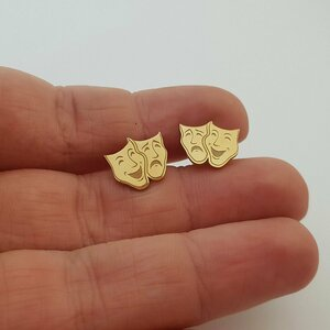 Cercei masti de teatru - Argint 925 placat cu Aur 14K, surub