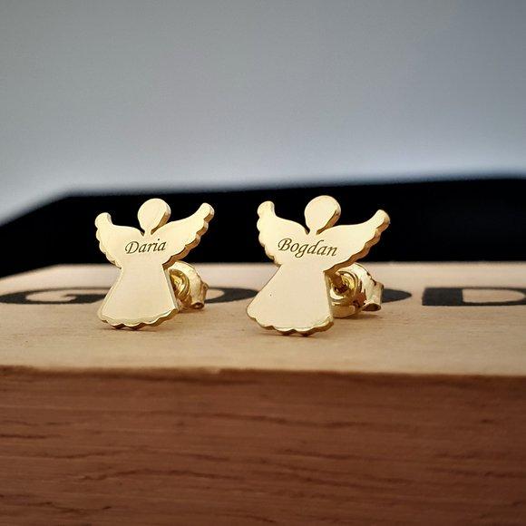 Cercei - Silueta ingeras - Argint 925 placat cu Aur 14K