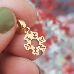 Charm personalizat Craciun - Fulg de nea - Argint 925 placat cu Aur roz 14K