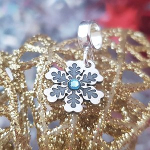 Charm personalizat Craciun - Fulg de zapada - Argint 925 - cristal Swarovski