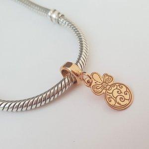 Charm personalizat Craciun - Glob - Argint 925 placat cu Aur roz 14K