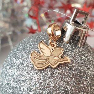 Charm personalizat Craciun - Inger - Argint 925 placat cu Aur roz 14K