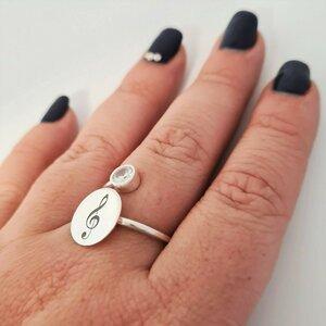 Inel banut si cristal Zirconiu - Gravura personalizata - Argint 925 - Model reglabil