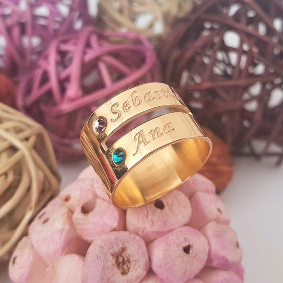 Inel personalizat 2 nume - Argint 925 placat cu Aur galben14k, cristale Swarovski