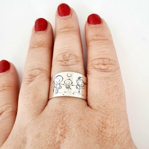 Inel personalizat - 3 copii  - Model lat - Argint 925 - Cristal Swarovski