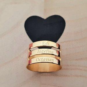 Inel personalizat - 3 nume - Argint 925 placat cu Aur galben14k