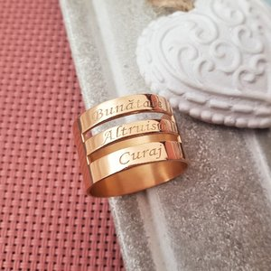 Inel personalizat - 3 nume - Argint 925 placat cu Aur roz 14k