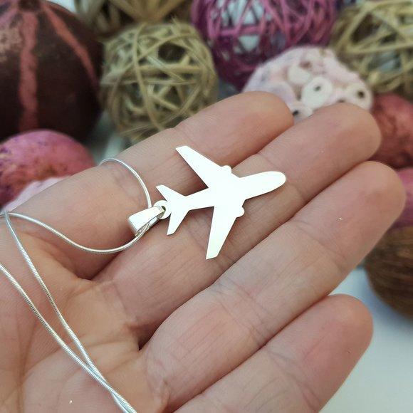 Lantisor cu pandantiv avion - Argint 925