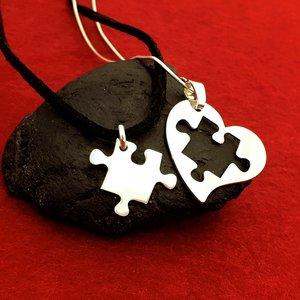 Lantisoare Inima si Puzzle - Argint 925
