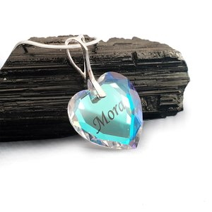 Lantisor Argint 925 cu pandantiv cristal Swarovski inima gravat - Aurore Boreale