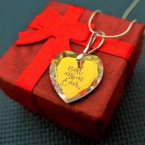 Lantisor cristal Swarovski inima gravat - Best Mom Ever