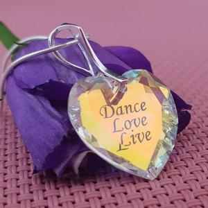 Lantisor cristal Swarovski inima gravat - Live Love Dance