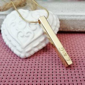 Lantisor cu pandantiv bara plina argint masiv personalizata - Argint 925 placat cu Aur galben 14k