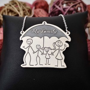 Lantisor cu pandantiv - Familie sub umbrela - Argint 925
