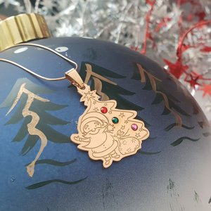 Lantisor cu pandantiv personalizat de Craciun - Mos si brad - Argint 925 placat cu Aur roz 14K - cristale Swarovski