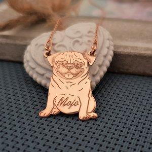 Lantisor cu pandantiv PUG - Argint 925 placat cu Aur roz