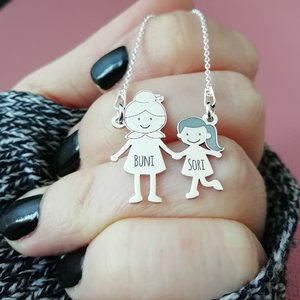 Lantisor Familie - 2 Membri - Bunica si nepotica - Argint 925