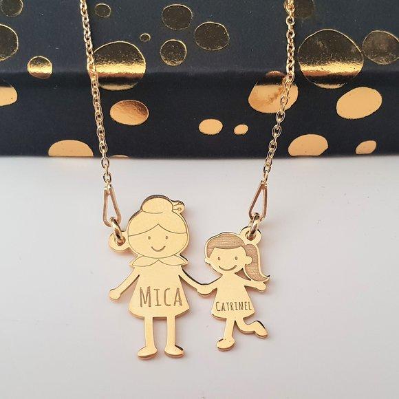 Lantisor Familie - 2 Membri - Bunica si nepotica - Argint 925 placat cu Aur 14K