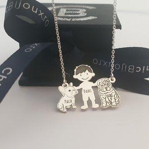 Lantisor Familie - 3 Membri - Baiat, Bulldog si Shar Pei  - Argint 925