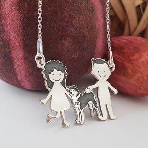 Lantisor Familie - 3 Membri cu Akita - Argint 925