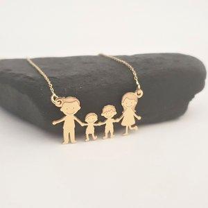 Lantisor Familie - 4 Membri - Aur galben 14K