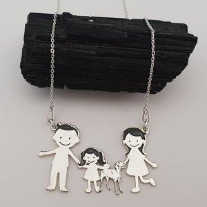 Lantisor Familie - 4 Membri cu Vizsla - Argint 925