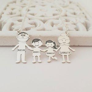 Lantisor Familie - 4 Membri - Nepoti si Bunici - Argint 925