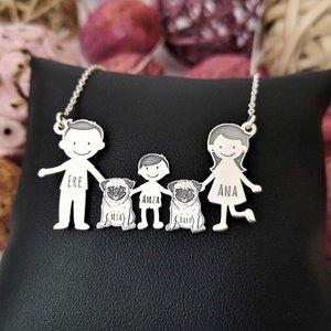 Lantisor Familie - 5 Membri cu 2 caini - Pug - Argint 925