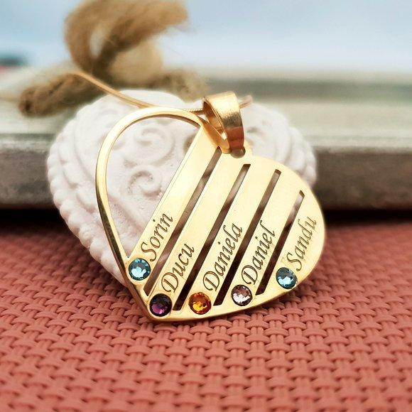 Lantisor Familie Inima - 5 membri - Argint 925 placat cu Aur 14K si cu cristale Swarovski