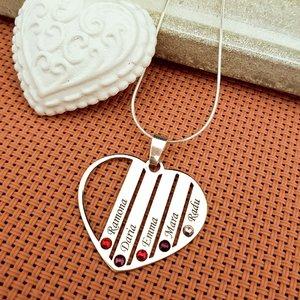 Lantisor Familie Inima - Argint 925 cu cristale Swarovski