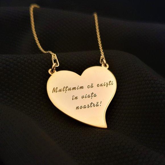 Lantisor Inima gravata - Argint 925 placat cu Aur 14K