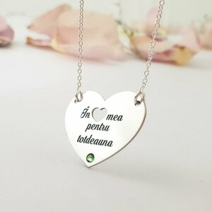 Lantisor personalizat - In inima mea pentru totdeuna - Argint 925 - cristal Swarovski