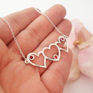 Lantisor personalizat -  Inimile noastre - 3 inimi unite - Argint 925 - cristale Swarovski