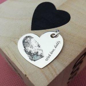 Pandantiv Inima cu amprenta si mesaj - Argint 925
