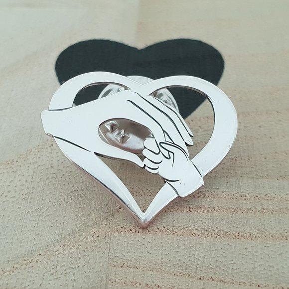 Pin Inima - Ocrotirea mamei - Argint 925