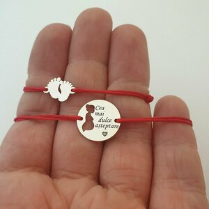 Set 2 bratari - Cea mai dulce asteptare - Bratara banut viitoare mamica 15 mm - Bratara picioruse 10x12 mm bebe - Argint 925 - snur reglabil