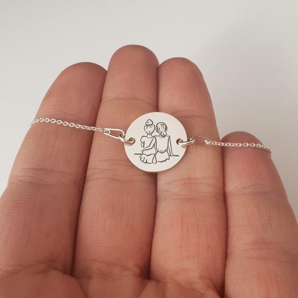 Set Cadou 2 bratari surori / prietene - banut si lantisor din Argint 925