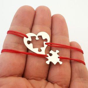 Set 2 bratari personalizate - Cuplu - Inima si piesa de puzzle - Argint 925 - snur reglabil