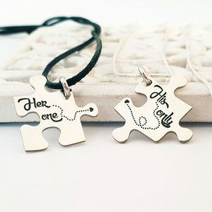Set 2 lantisoare - Cuplu - Piese de puzzle personalizate - Argint 925