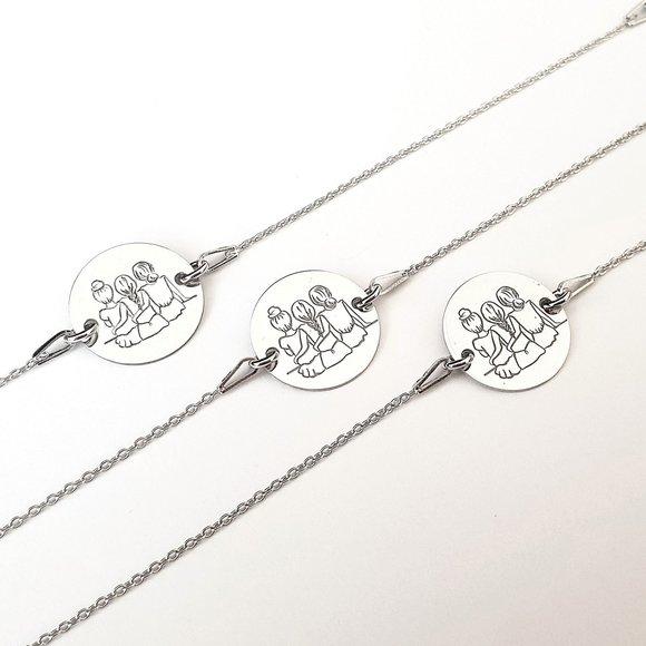 Set Cadou 3 bratari surori / prietene - banut si lantisor din Argint 925