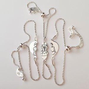 Set Cadou 3 bratari - inima puzzle - surori / prietene -  Argint 925, lantisor reglabil