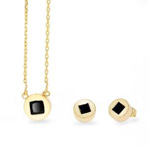 Set colier si cercei - Golden Capsule - placat cu aur 18K