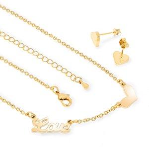 Set colier si cercei - True Love - placat cu aur 18K