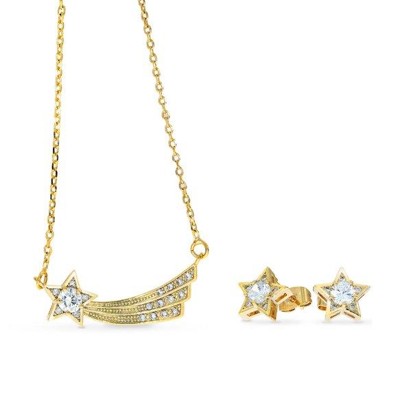 Set colier si cercei - Wish Upon a Star -  placat cu aur 18K