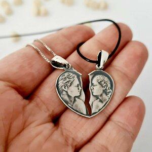 Set lantisoare cuplu - Inima vintage - Argint 925