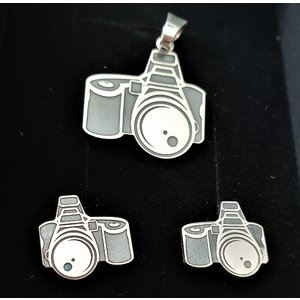 Set Pandantiv si Cercei - Aparat foto - Argint 925