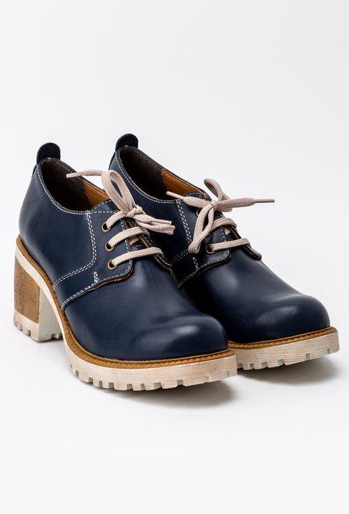 Pantofi bleumarin din piele naturala cu toc maro