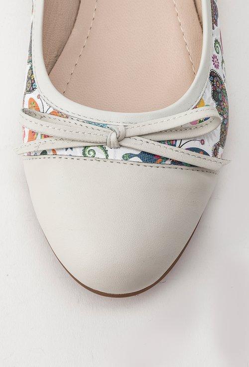 Balerini alb fildes cu model multicolor din piele naturala Raina