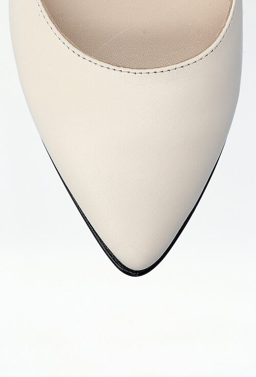 Balerini alb-fildes din piele cu detaliu in partea din spate